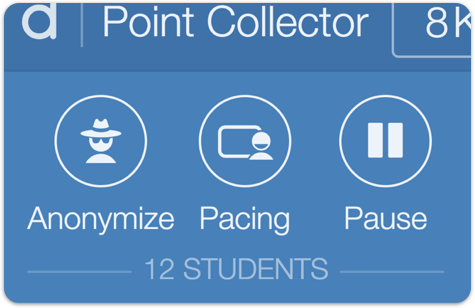 Partial image of the teacher dashboard showing the classroom conversation tools—anonymize, pacing, and pause.