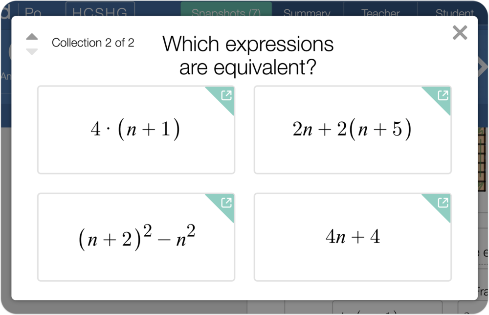 "An image showing four snapshots in the present view with a question: ""Which expressions are equivalent?"""