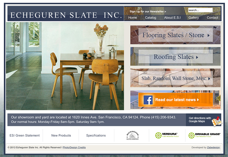 Echeguren Slate Inc., Webdesign