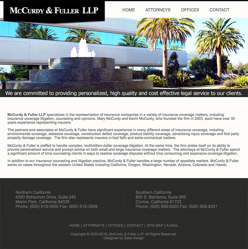 McCurdy & Fuller LLP,  Web Design | HTML/CSS