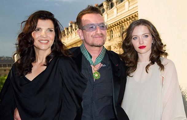 With Mom, activist Ali Hewson and Dad, Bono