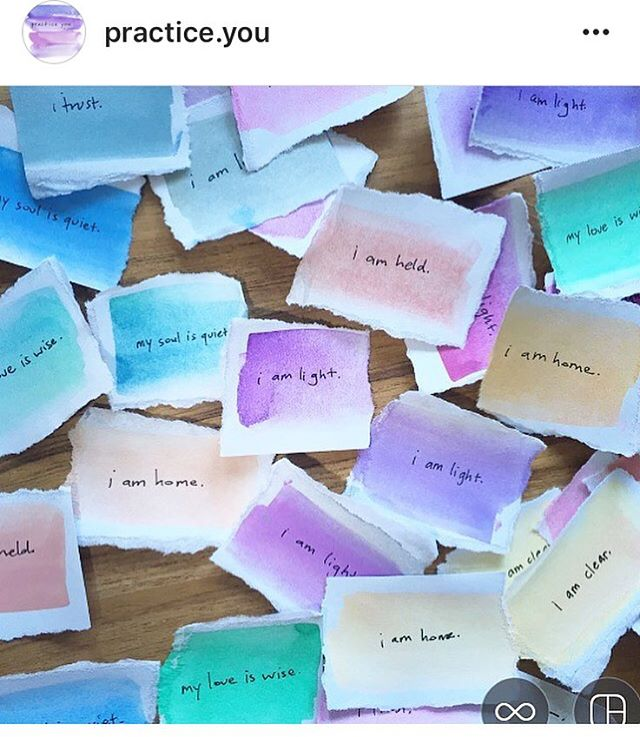 Oooh, I looove these watercolor #affirmations from @practice.you. ___ Affirmations are powerful stuff, friends! ___ If you want to hear more about how to incorporate affirmations into your life, 👂🏻 LISTEN to #painiacpodcast episode THREE and download our affirmation maker worksheet at the link in bio.