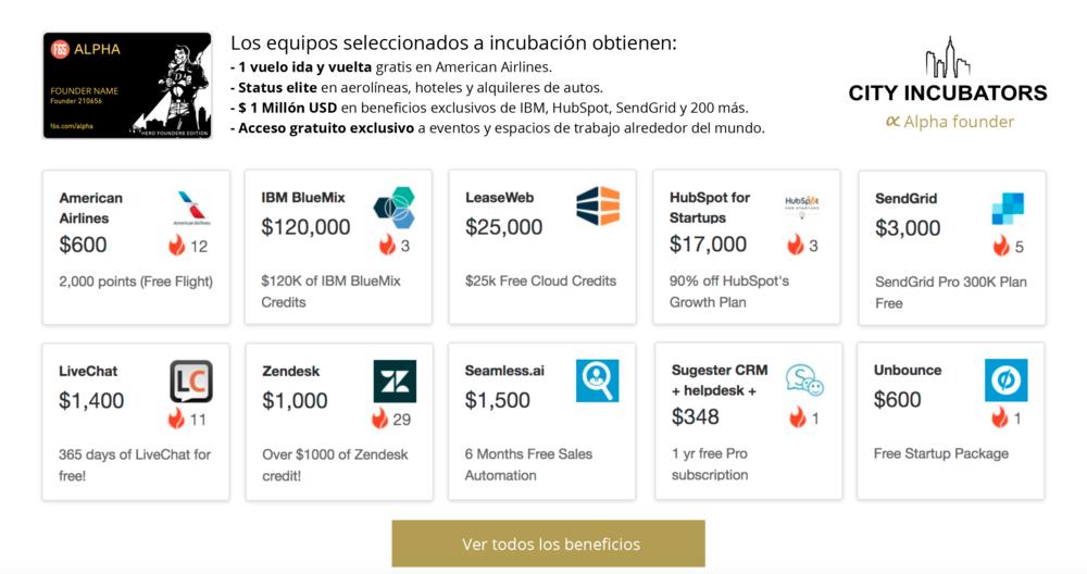 F6S ALPHA CARD - City Incubators es la única incubadora en Perú seleccionada para el programa F6S Alpha Card, que ofrece beneficios, créditos y descuentos por más de $ 1 MILLÓN DE DÓLARES en hosting, servicios en la nube, anuncios, herramientas para desarrolladores, CRMs,servicios digitales, espacios de co-working alrededor del mundo, vuelos, alojamiento, entre otros. Estos beneficios son otorgados solamente a los emprendimientos que lleguen a la última fase de incubación.