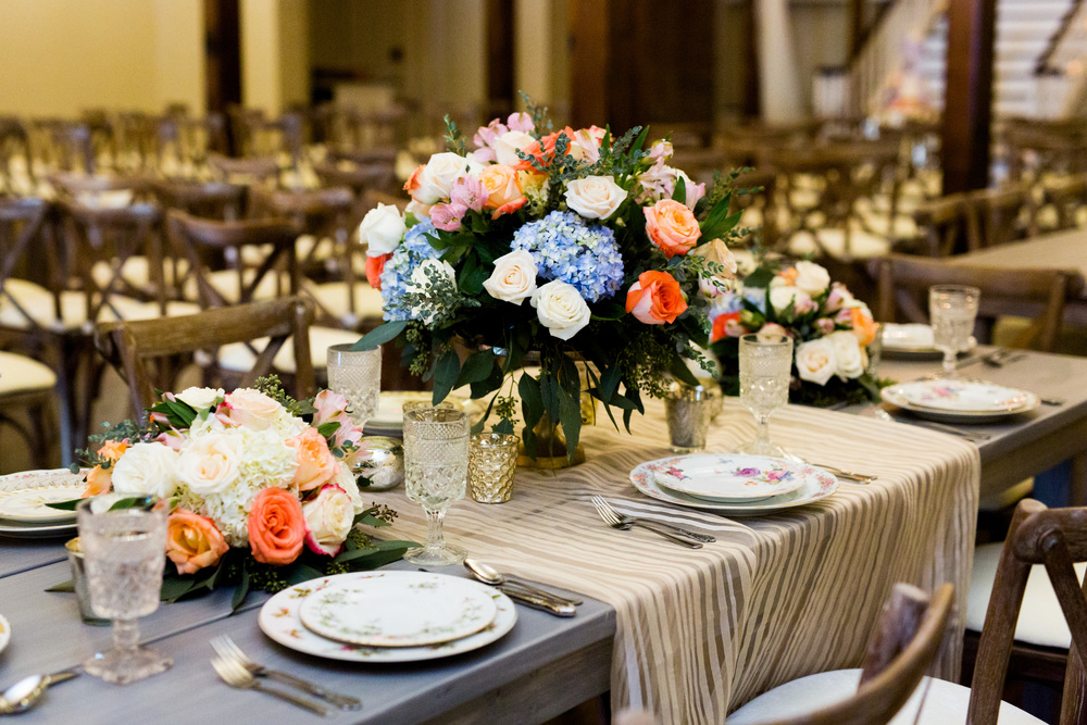 The Grand Canadian Theater OKC Purcell Wedding Venue Ashley Porton Photography Tony Foss Flowers Vintage Tabletop Rental