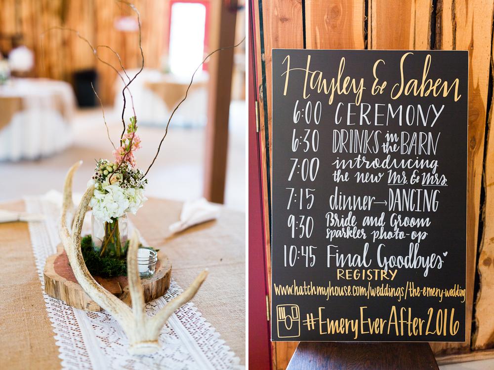 oklahoma wedding photographer pasture at willows ranch broken bow chalkboard itinerary