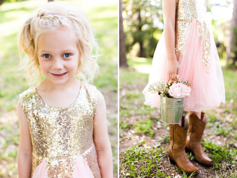 oklahoma wedding photographer pasture at willows ranch broken bow cute flowers girl pink and gold glitter