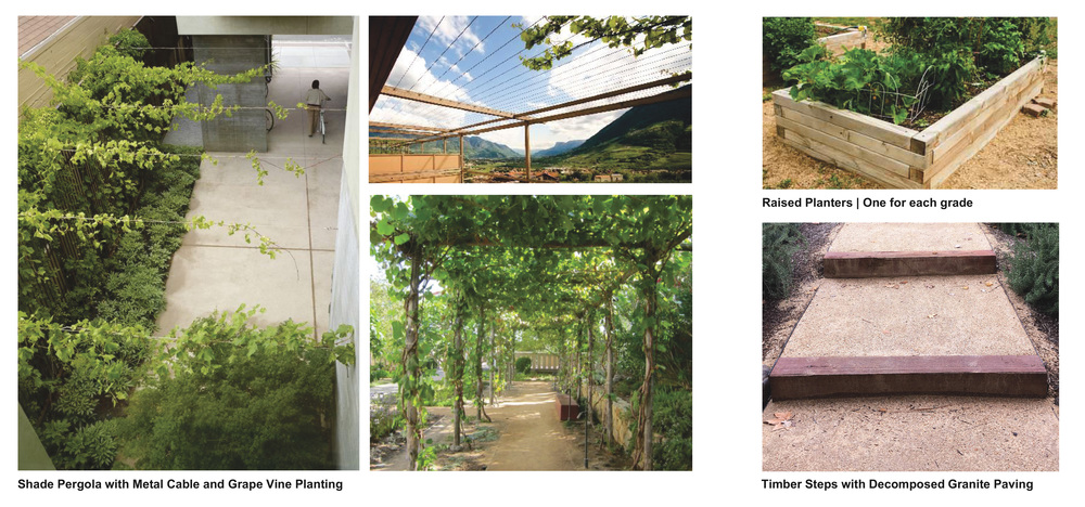 Design Imagery | Metal Cable Shade Structure, Terraced Steps and Raised Beds