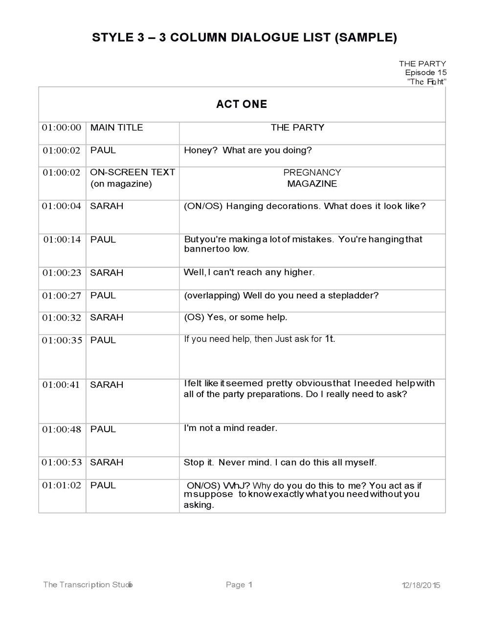 STYLE 3 –   3 COLUMN DIALOGUE LIST