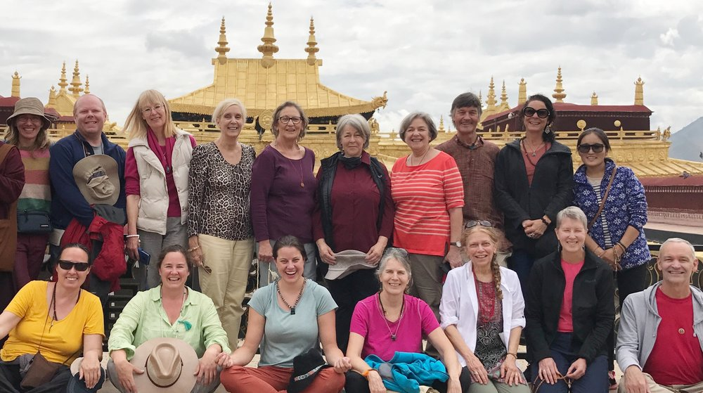 July 2017 Pilgrimage Group from Europe, USA, and Australia. Jokhang rooftop.