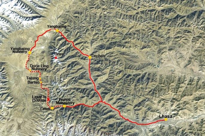 Trekking map of Tsurphu to Dorje Ling Nunnery