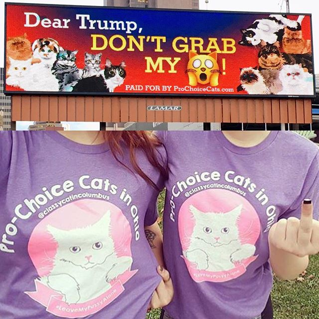 In case you missed it, we finally got our Columbus billboards up this week, right before Trump came to town. Also, the purple pussy shirts are back for a short time. Pre-order yours at ProChoiceCats.com #prochoicecats #leavemypussyalone #dumpthetrump #614 😻
