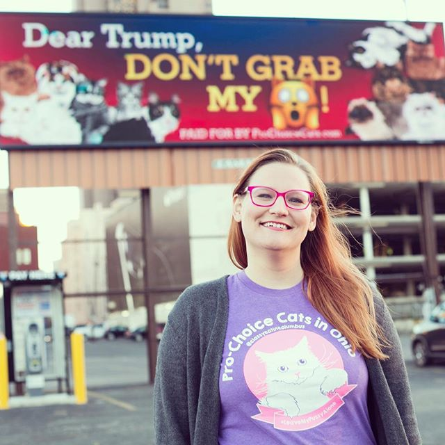 "On Monday, Joe and Patricia Tucker donated $1,040 to this campaign with one simple request attached: Put an anti-Trump e-billboard in Toledo, Ohio. By Tuesday, the billboard image went up on I-75 at Berdan Road near the I-475 exit.  We are so excited to see the Pro Choice Cats message spreading beyond Columbus. Toledo is where I graduated from high school and college. It was at a Toledo animal shelter that I found Boo Radley, the white-haired, sassy pussy/mascot of ProChoiceCats.com. Toledo is also a place that has been strongly impacted by Ohio's anti-choice laws. Abortion clinics have closed, and there is one clinic there that continues to fight to stay open, in spite of the Ohio legislature's repeated attempts to pass TRAP laws that would close independent clinics like the only one left in Toledo.  A sincere thank you to the wonderful couple who made a massive donation to ensure the ""Dear Trump, Don't Grab My [Pussy Emoji]"" sign would appear in Toledo from Nov 1 to Nov 8. #toledo #419  #prochoicecats #leavemypussyalone #pussygrabsback #trump #dumpthetrump #prochoice #cats #pussy #dontgrabmypussy #asseenincolumbus #614 #billboard #columbus #catsofcolumbus #catsofig"