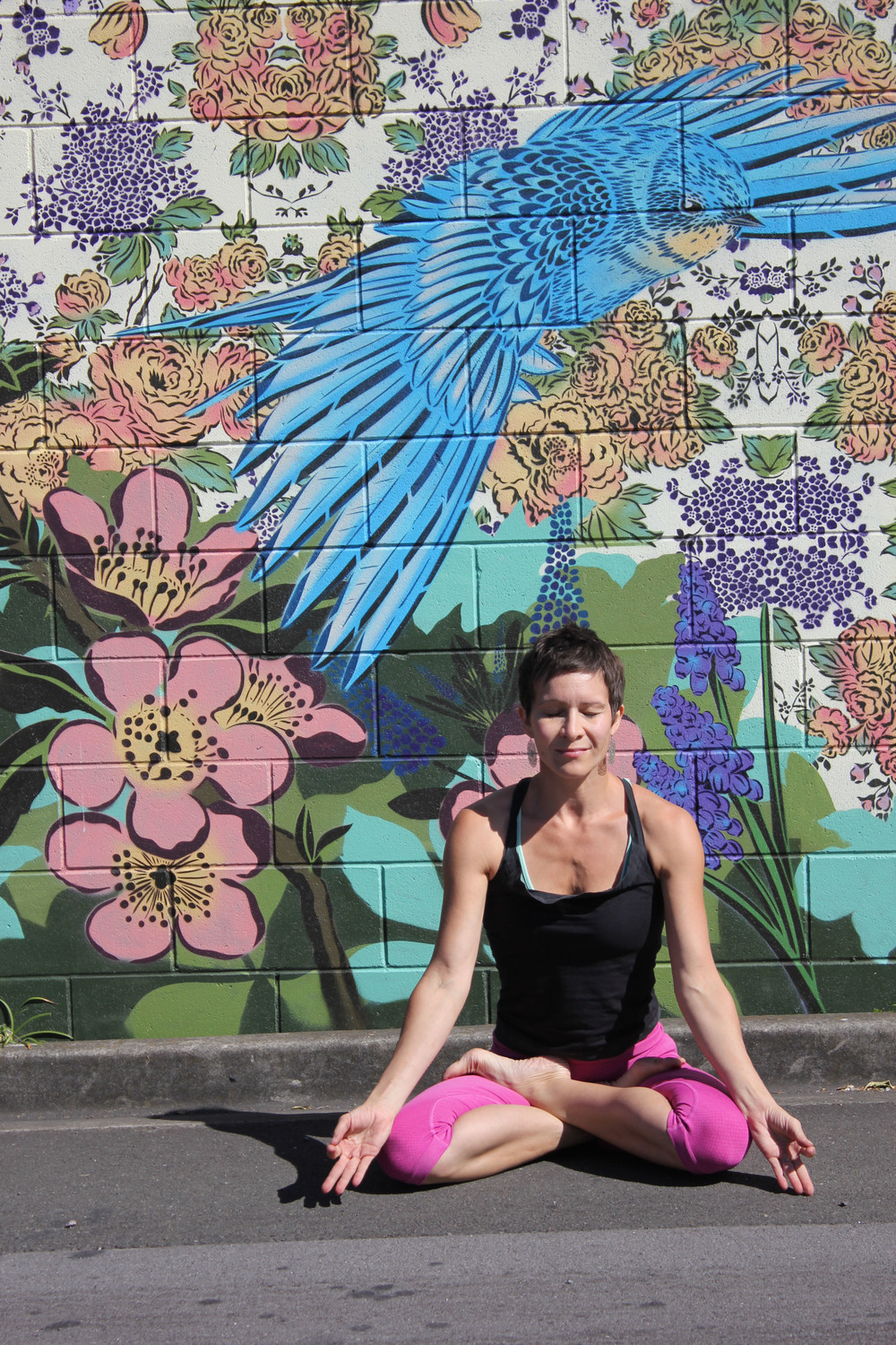 Padmasana with a beautiful bluebird :-)