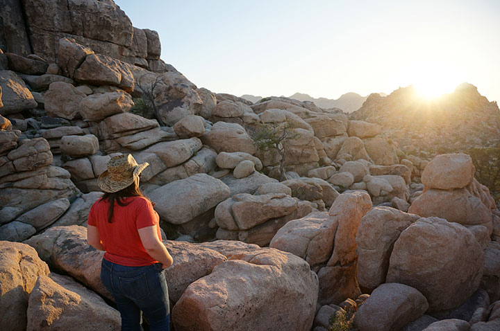 Hidden Valley Nature Trail is spectacular at sunset in Joshua Tree National Park. Photo by Lindsay Hollinger.