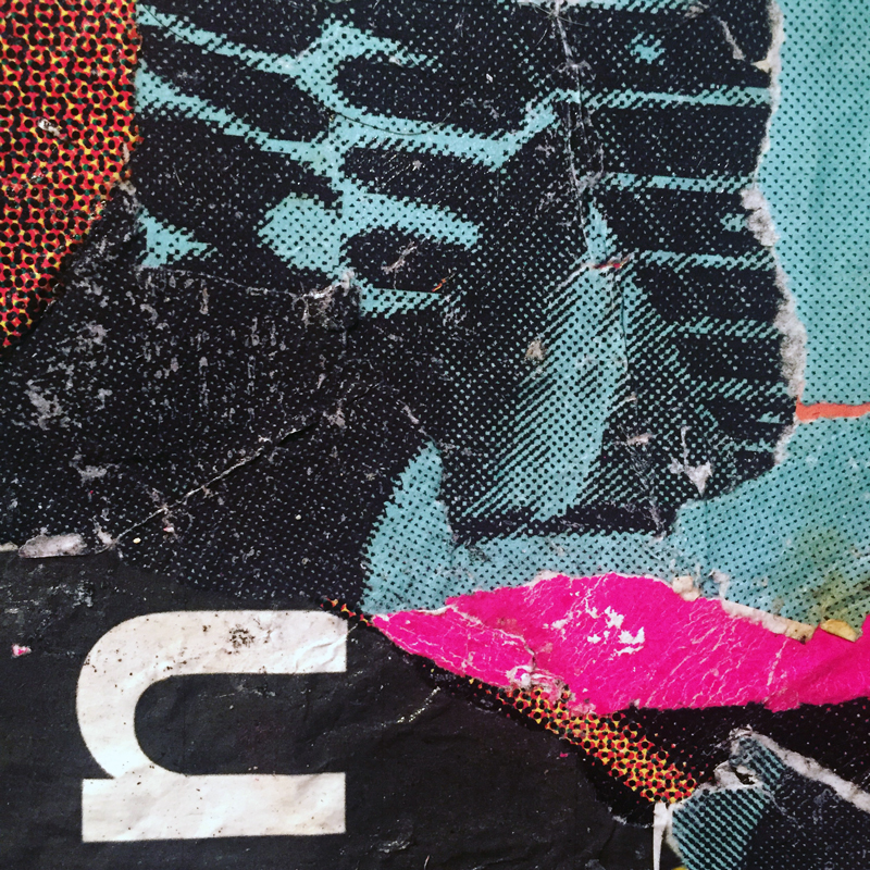 DETAIL - Mixed media collage using torn street posters