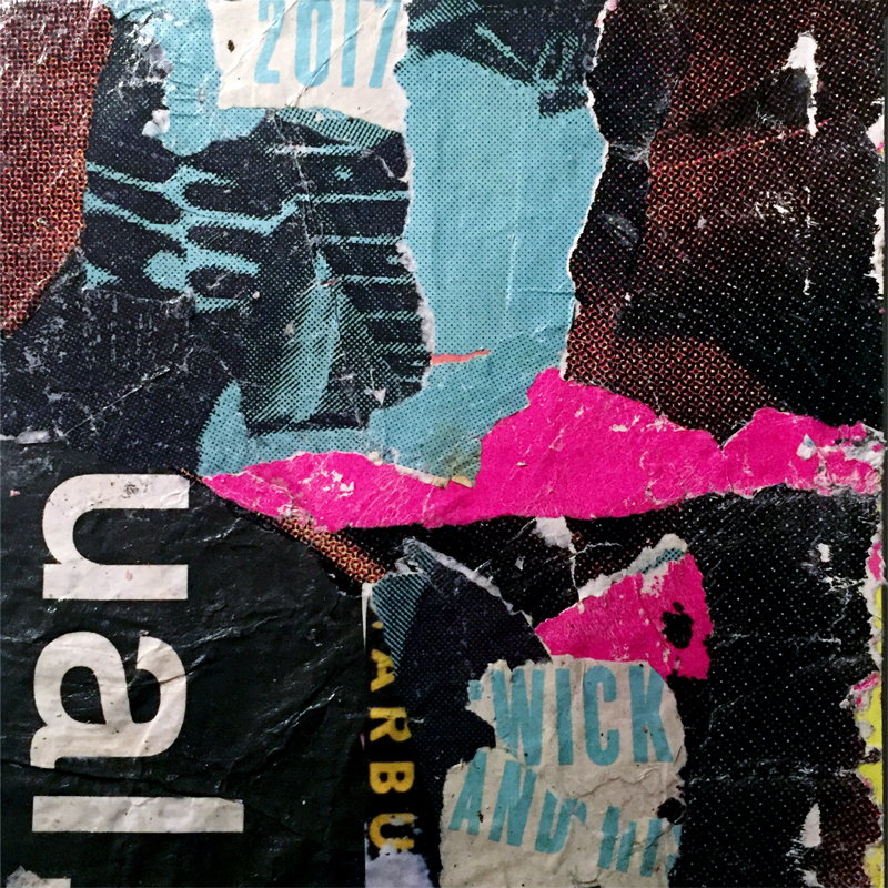More layering - Mixed media collage using torn street posters