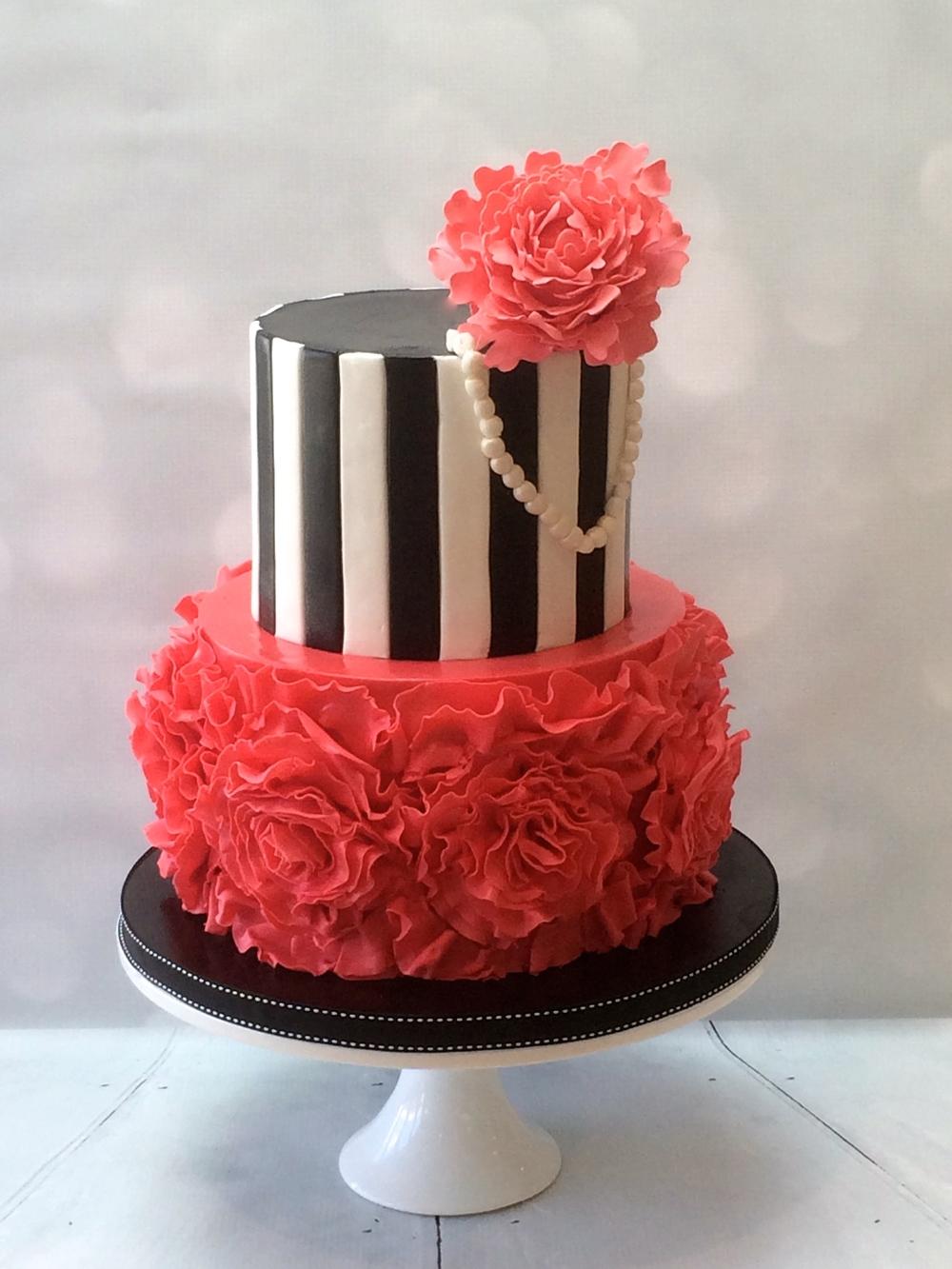 21st Birthday Cake -Peony & Pearls