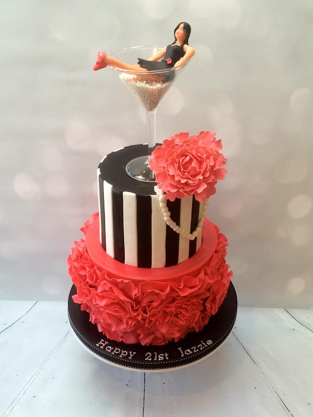 Peony & Pearls 21st Birthday Cake