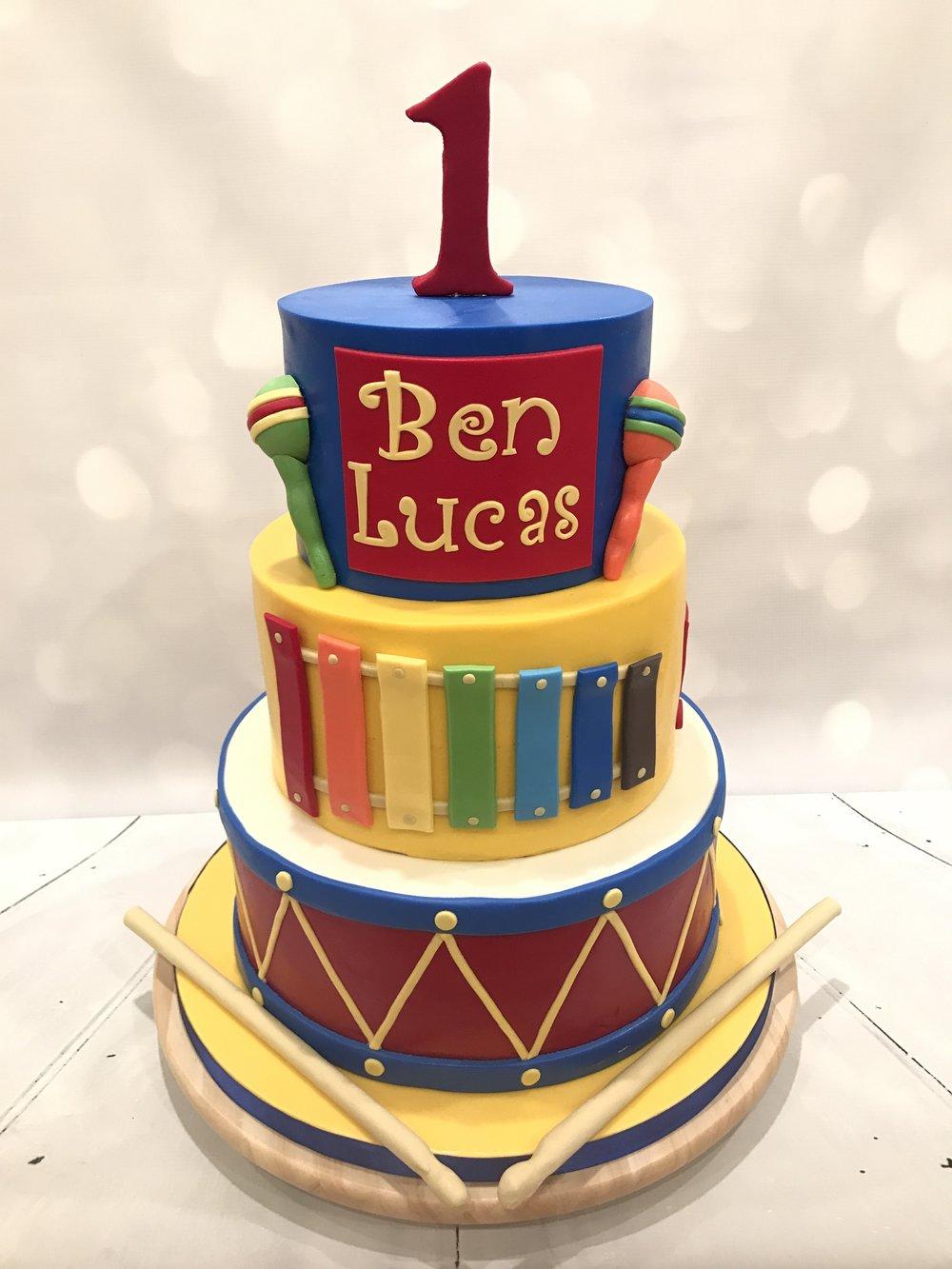 "Toddler ""Baby Jam"" Musical Instrument Cake"