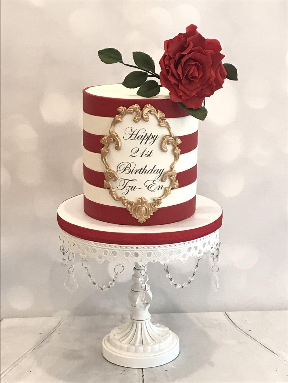 Red & White Stripe Ormolu Rose Cake