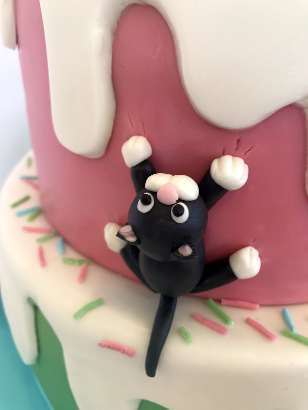 See the claw-marks made by this cat climbing up the cake?!