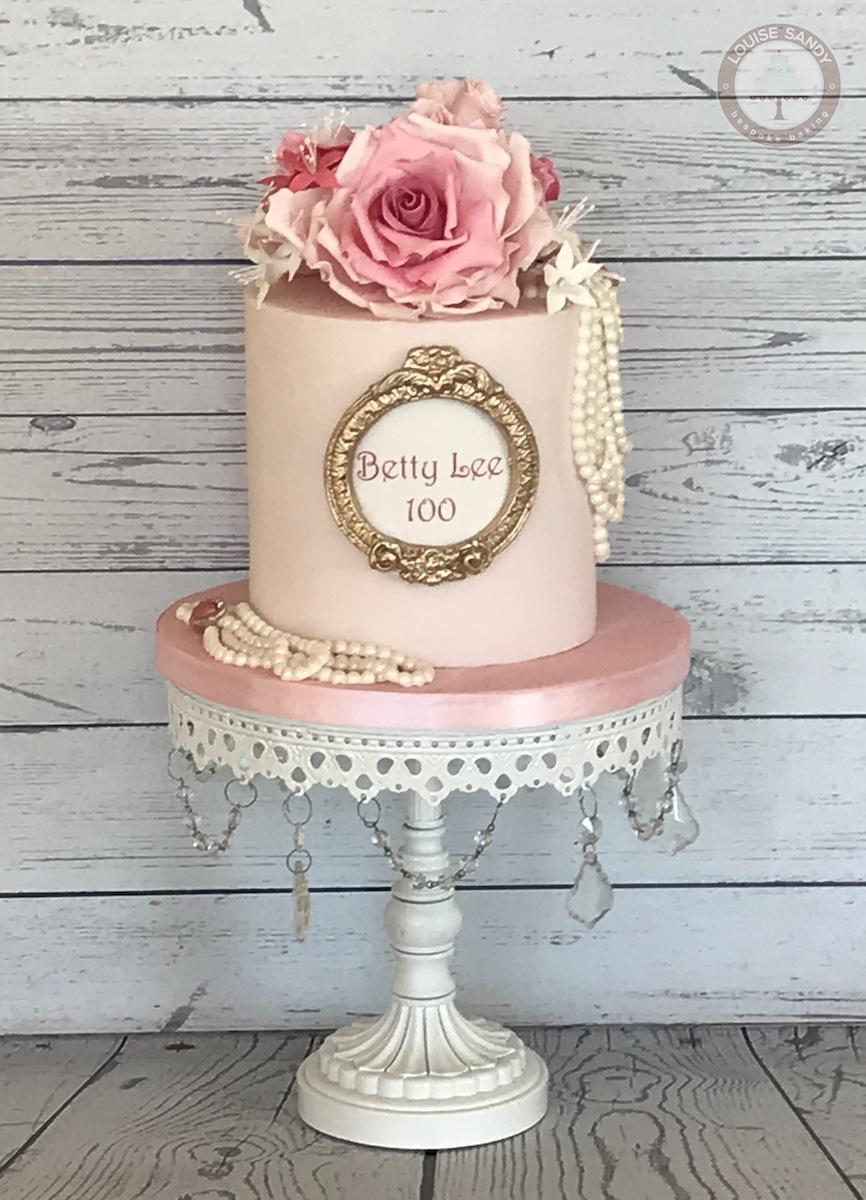 Vintage Rose & Pearls 100th Birthday Cake