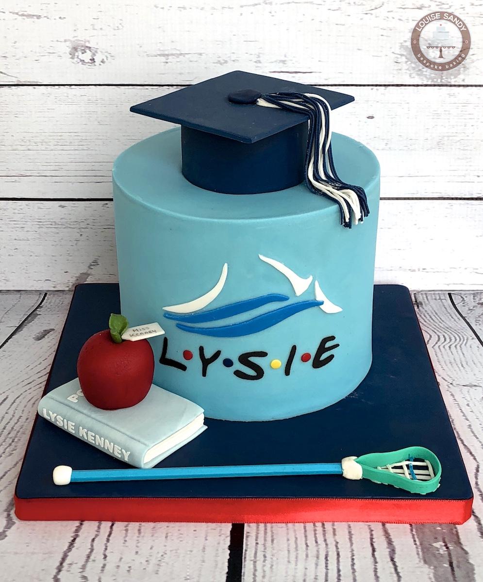 Western Washington University Graduation Cake with Lacrosse Stick