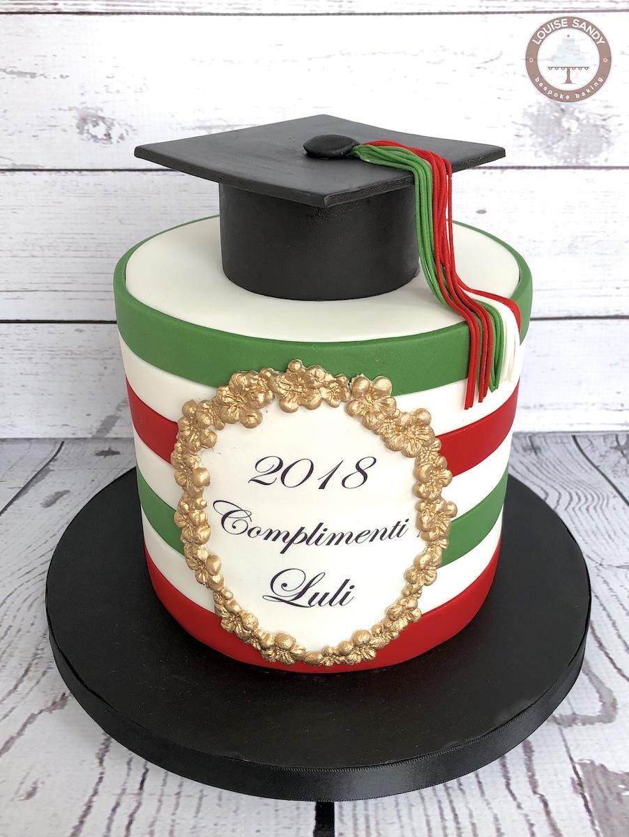 "Italian Flag ""Tricolore"" Graduation Cake"