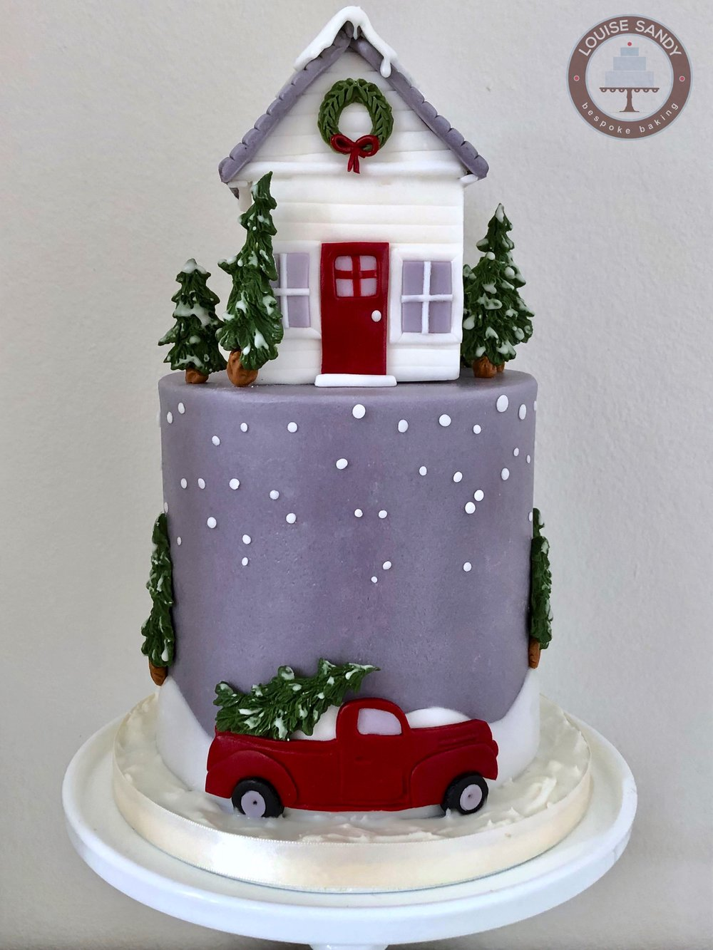 """Home for the Holidays"" Christmas Cake, with Red Truck delivering Christmas Tree"