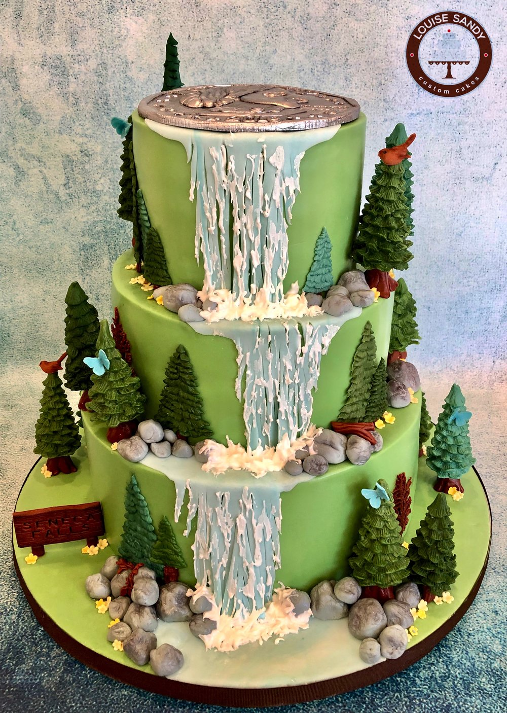"""Seneca Falls"" Waterfall Baby Shower Cake"