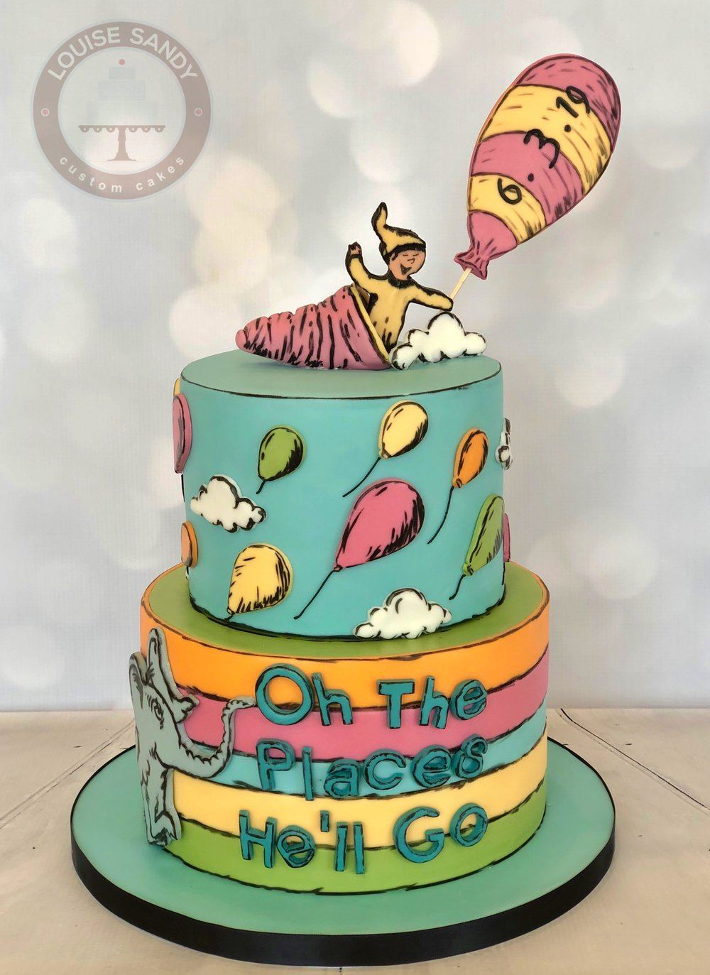 """""""Oh The Places You'll Go"""" Baby Shower Cake"""