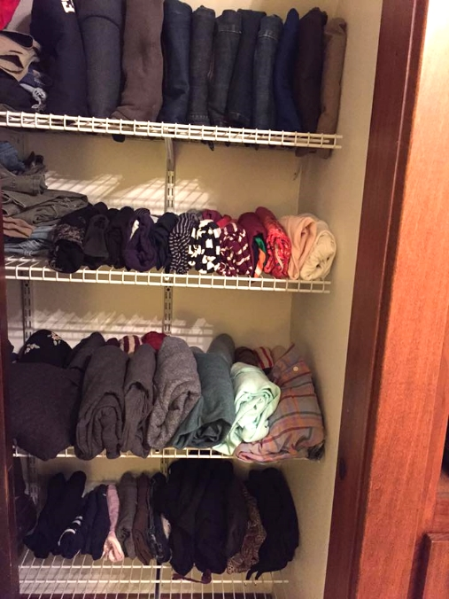 AFTER Using the KonMari method, the clothing that made the cut was neatly folded and stacked vertically in Kristi's closet.