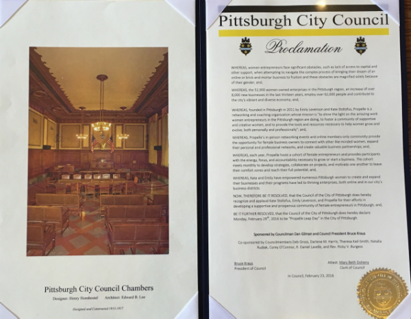 The Council wrote a beautiful proclamation. Did you know there are 52,900 women-owned enterprises in the Pittsburgh region?!