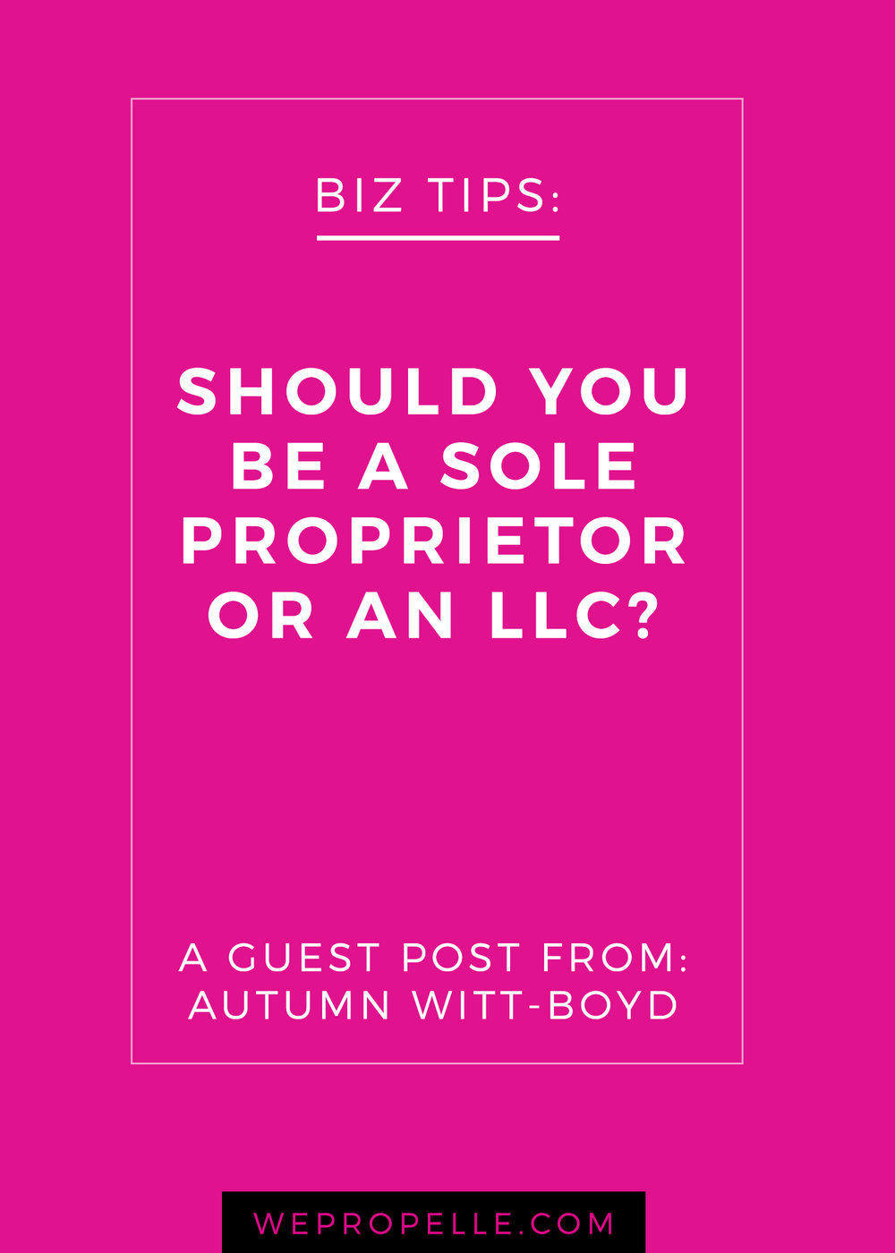 Just starting a business? Congrats! Now it's time to decide on the kind of business structure you need. This guest post from Autumn Witt-Boyd is a great primer on the liability and tax implications of the different business structures: sole proprietorship, llc, and s-corp. | wepropelle.com