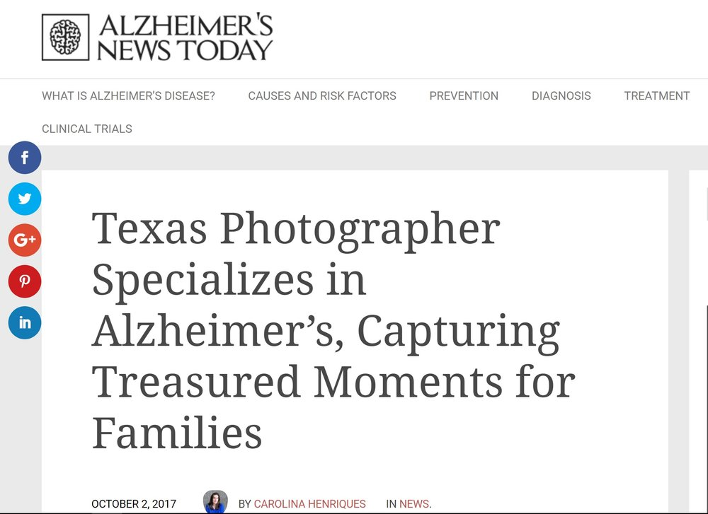 "- Buck, the official photographer for Alzheimer's Texas, is working to help families treasure moments and the memories they bring.""Families don't know how to honor and create meaningful memories as unexpected changes occur with their loved ones and relationships."""
