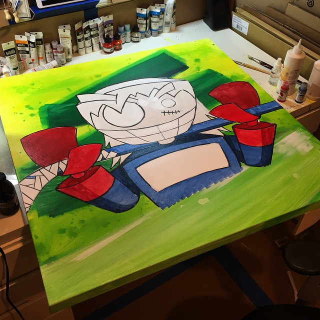 One more #progress pic. Excited to move on to the linework. #hockey #commission #acrylic #memebots #robot #art #instaart