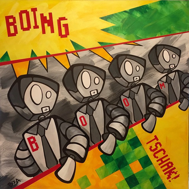 #Kraftwerk #painting #complete! Let's see what else I can bang out over the weekend. #ForSale #memebots #robot #acrylic #art #BoingBoomTschak!