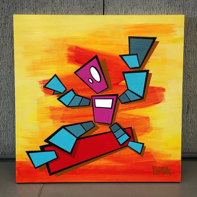 New #RadBot #painting displayed at the #StreetMeat show last night! #ForSale #memebots #acrylic #robot #art
