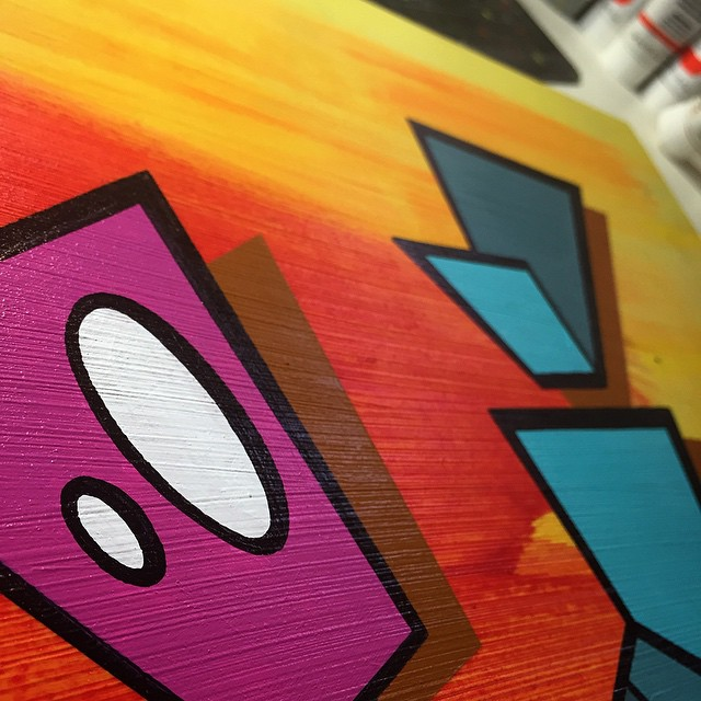 Working on something a little bit #different for the group show #StreetMeat! #HoleInTheSky #WashingtonDC #art #gallery #acrylic #lowbrow #robot #painting