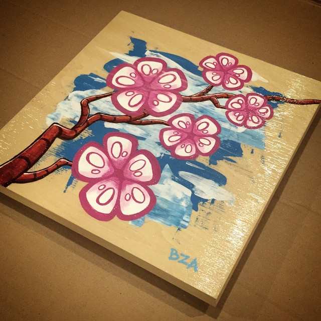 Spent #Saturday putting this #Robot #CherryBlossoms #painting together for #CherryBlast2015 #DC! Looking forward to being part of the show at #BlindWhino next #weekend!
