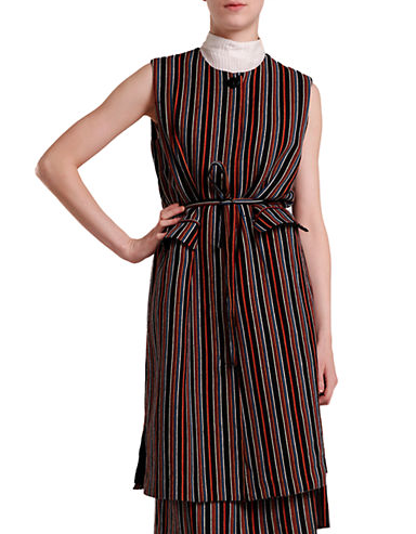 """Opt for effortless style with this vintage-inspired vest, cast with moody stripes in an elongated silhouette."""