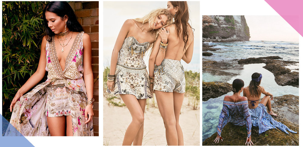 L to R: Camilla's  Girl in the Garden Playsuit ,  Handiras Hold Strapless Dress  and  Antique Batik Long Draped Robe