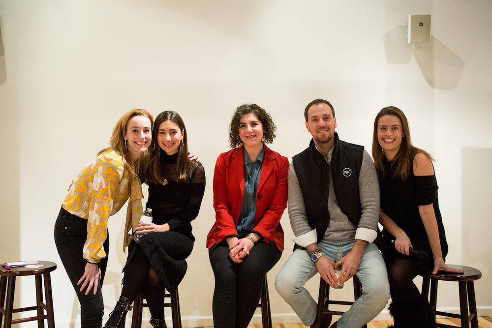 LEFT TO RIGHT: Hillary France, Melanie Masarin, Lauren Danziger, Jonathan Krieger, and Katie Hunt
