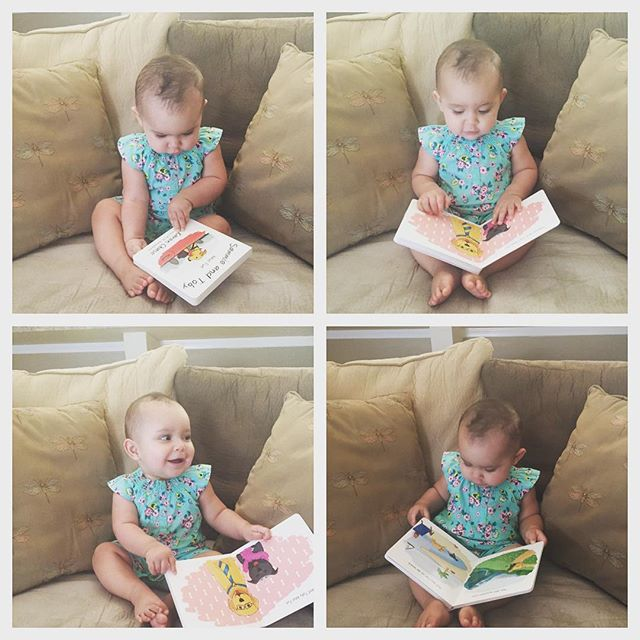 """Lorelai just turned one years old. Her mom tells us our books are the only ones she wants to look at and read.  She points to them and says """"dog dog."""" Lorelai, you are absolutely adorable! 💞💞💞"""
