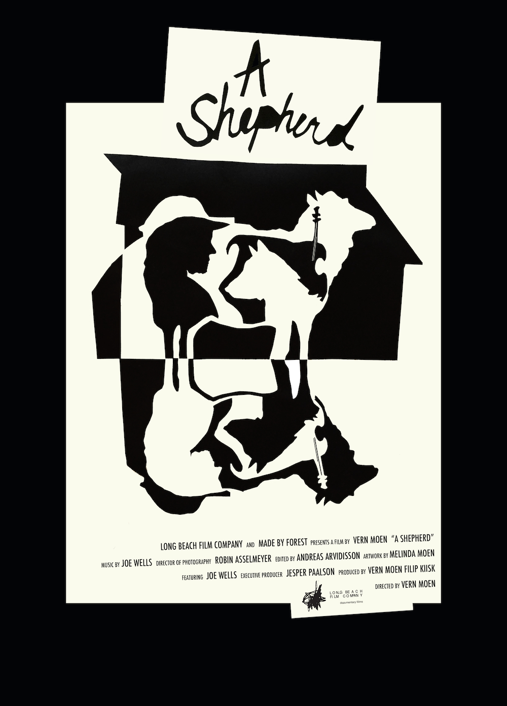 Official poster for A Shepherd.  Artwork by Melinda Moen.  Designed by Vern Moen.