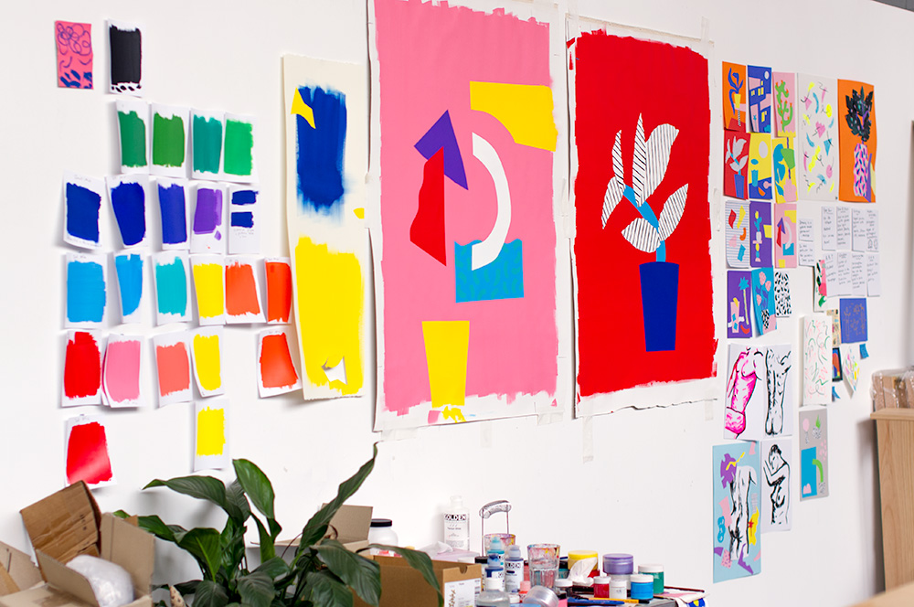 Artwork for Spencer's upcoming exhibition covers an entire wall of his studio. Photo by Susan Fitzgerald.