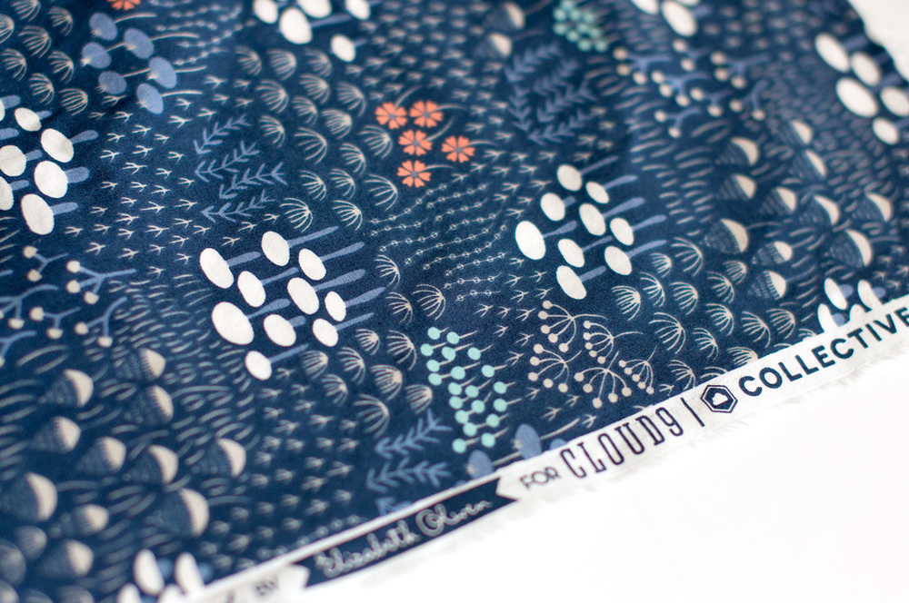 Midnight Flora from  Elizabeth Olwen 's  Wildwood   collection for Cloud9. Photo by Susan Fitzgerald.