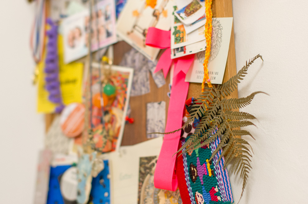 Close-up of Esther's inspiration pinboard. Photo by Susan Fitzgerald.