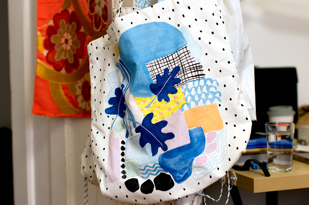 A bag featuring Esther's digitised painting. Photo by Susan Fitzgerald.