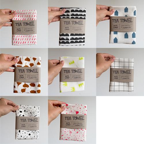 pot luck seconds 100 linen tea towel screen printed various